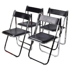 Set 4 Arrben Tamara Italian Modernist Chrome Black Leather Folding Chairs #2