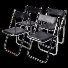 Set 4 Arrben Tamara Italian Modernist Chrome Black Leather Folding Chairs #2
