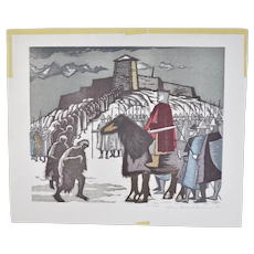 "L/E Norwegian Woodcut Print ""King at Tonsberg"" Hans Gerhard Sorensen"
