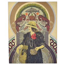"Circa 1980's John Asquith homage to Mucha Art Nouveau Lithograph ""Harrod's"""