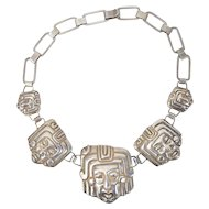 M. Velazquez Mexican Silver Repousse Figural Mayan Head Necklace
