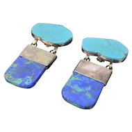 Rebecca Collins Large Silver Sterling Azurite & Turquoise Specimen Earrings