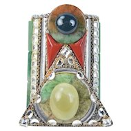 Wendy Gell 1980's Couture Jade Semi-Precious Stone Art Deco Cuff Bracelet