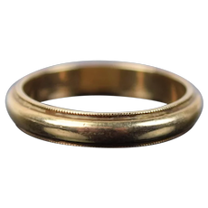 Vintage Estate Men's 14k Solid Yellow Gold Wedding Ring Band