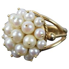 Vintage 14k Solid Gold Cocktail Ring with Pearl Clusters