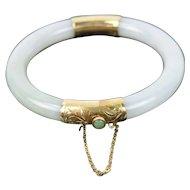 Vintage Estate 14k Gold White Jade Hinged Bracelet