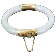 Vintage Estate 14k Gold White Jade Hinged Bracelet
