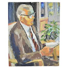 Circa 1970 Lars Birger Sponberg Oil Painting Gentleman in Suit Reading