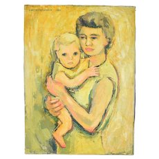 1962 Lars Birger Sponberg Oil Painting Mother w Child