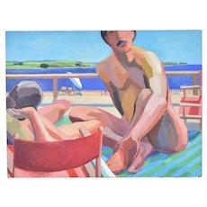 Circa 1970 Lars Birger Sponberg Oil Painting Man at Beach