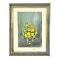 Small Vintage French Barbizon Impressionist Floral Still Life by Sabaya