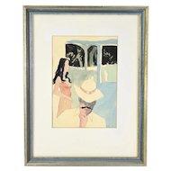 "1980 Jim Anthony Watercolor ""Cool White Hat Rejection Autograph on Blue Denim Veranda"""