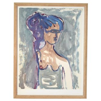 Vintage Mid-Century Modern Abstract Watercolor Painting Woman in Mask signed