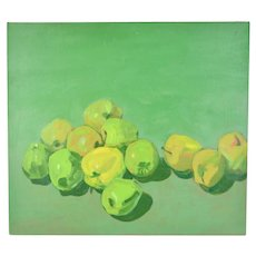 Vintage Modern Still Life Painting Green Apples