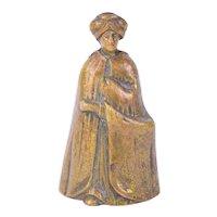 Vintage Bronze Figural Tea Hand Bell Arab Sultan Bedouin Moor in Turban
