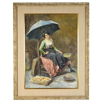 Circa 1900 Italian Genre Painting Street Vender Selling Corn w Umbrella