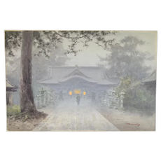 C. 1910 Japanese Nocturnal Tonalist Watercolor Temple Lights in the Mist
