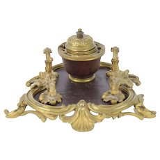 Antique 19th Century Louis XV Bronze Inkwell Inkstand