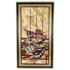 Vintage Mid-Century Modern Abstract Oil Painting Fishing Boats signed Arco