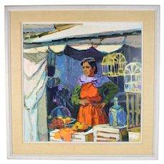 Large Vintage Mid-Century Oil Painting Market Vendor w Bird Cages signed Wegner