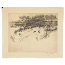 Circa 1910 Earl Howell Reed Etching Crows at Michigan Indiana Dunes signed
