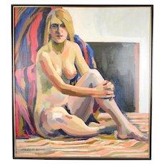 Circa 1970 Lars Birger Sponberg Oil Painting Nude Blonde Woman