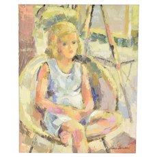 Circa 1960 Lars Birger Sponberg Oil Painting Blonde Haired Little Girl