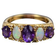 Vintage Estate 18k Yellow Gold English Ring with Amethysts and Opals
