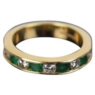 Vintage Estate 14k Yellow Gold Ring Channel Set Round Emeralds Diamonds