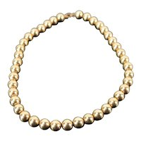 Vintage Estate Choker Necklace Strand 14k Solid Yellow Gold Beads