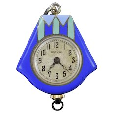 Vintage Art Deco Pendant Watch Sterling Silver Blue Green Enamel Swiss