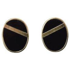 Vintage Estate Pair Black Onyx 14k Yellow Gold Oval Earrings w Cross Bar