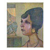 "Vintage 1950's Painting ""Dancer & Model"" Dick Fort Chicago Nightclub Series"