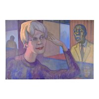 """Vintage 1950's Painting """"Pensive Listener"""" Dick Fort Chicago Nightclub Series"""