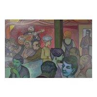 """Vintage 1959 Painting """"Easy Street"""" Dick Fort Chicago Nightclub Series"""