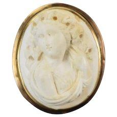 Victorian Bas-Relief Carved Lava 14k Gold Portrait Brooch Bacchante