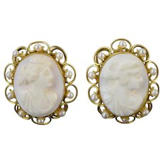 Victorian Style Carved Shell Portrait Cameos 14k Gold Earrings Seed Pearls