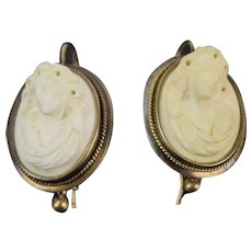 Victorian 9k Gold Earrings w Bas-Relief Carved Lava Cameo Bacchante