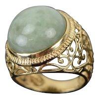 Vintage Estate 14k Solid Yellow Gold Filigree Ring w Round Jade Cabochon