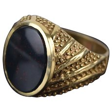 Vintage Estate Beaded 14k Solid Yellow Gold Swirl Ring Bloodstone Cabochon