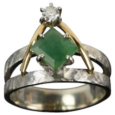 Vintage Estate Square Cut Emerald w Diamond White & Yellow Gold Mod Ring