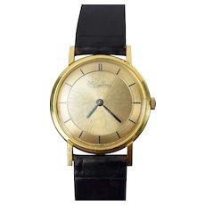 1970's Lucien Piccard 18k Gold Ultra Thin Men's Wrist Watch Brushed Sunburst Dial