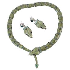 Margot de Taxco Mexican Sterling Silver Serpent Snake Enamel Necklace Earrings