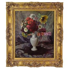 Antique 1918 Oil Painting Floral Still Life signed Wilhelm Legler Italian