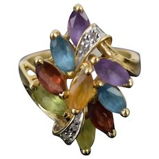 Vintage Mid-Century Modern 14k Solid Gold Ring w Confetti Marquise Gemstones