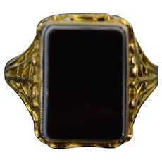 Vintage Estate 14k Solid Yellow Gold Filigree Ring Black Agate Square Cabochon