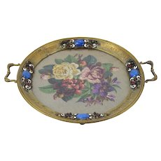 Antique Bronze Dresser Plateau Enameled Jeweled w Lapis Lazuli Cabochons