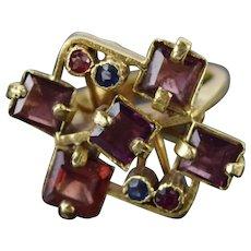 Vintage Estate Mid-Century Modern 14k Gold Geometric Ring Gemstones