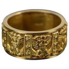 Vintage Estate 14k Solid Gold Ring Eagle with Shield Clutching Arrows
