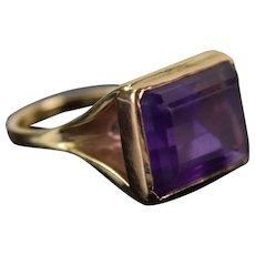Vintage Estate 14k Gold Very Large Amethyst Solitaire Baguette Ring